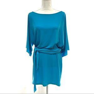 Blue Dolman Dress with Wrap Sleeve - Small